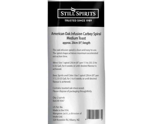 Still Spirits Amercian Oak Carboy Spiral Medium Toast